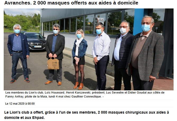 Juin 2020 Distribution de masques
